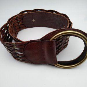 Linea Pelle Brown Leather Woven Brass Stud Belt M